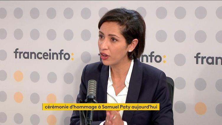 La secrétaire d'État SarahEl Haïry, le 16 octobre 2021 sur franceinfo. (CAPTURE D'ECRAN / FRANCEINFO)