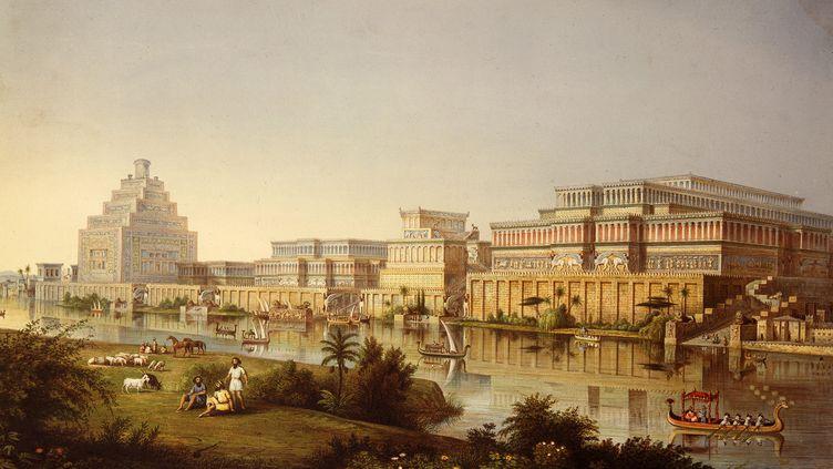 Les palais assyriens de Nimroud en Irak représentés sur une lithographie. (EILEEN TWEEDY / THE ART ARCHIVE / AFP)