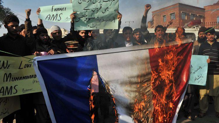 Des manifestants brûlent un drapeau français lors d'un défilé anti-Charlie Hebdo à Peshawar (Pakistan), le 19 janvier 2015. (A. MAJEED / AFP)