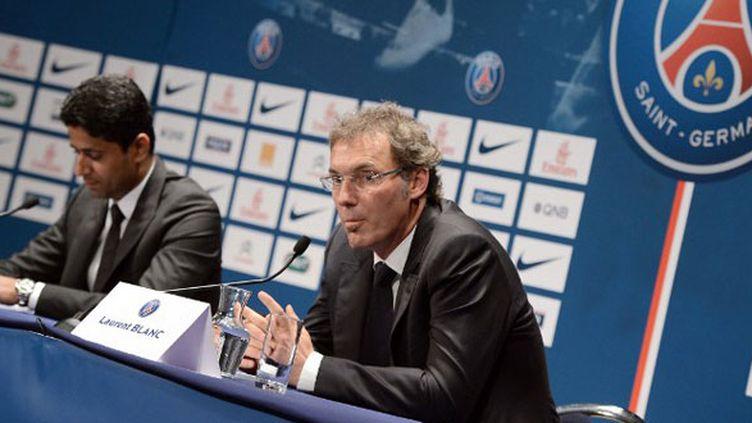 Le président du PSG Nasser Al-Khelaïfi et l'entraîneur Laurent Blanc