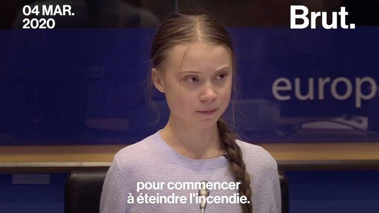 """Invitée de la Commission européenne à l'occasion de la présentation de la loi climat, Greta Thunberg a pointé ce texte, qu'elle qualifie de """"capitulation"""". (BRUT)"""