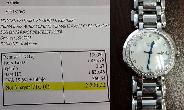 Montre sertie de diamants et sa facture. (LAETITIA SAAVEDRA / RADIO FRANCE)