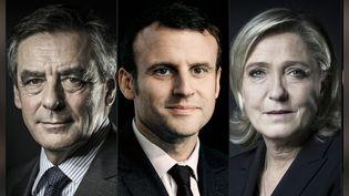 François Fillon, Emmanuel Macron, Marine Le Pen. (JOEL SAGET / AFP)