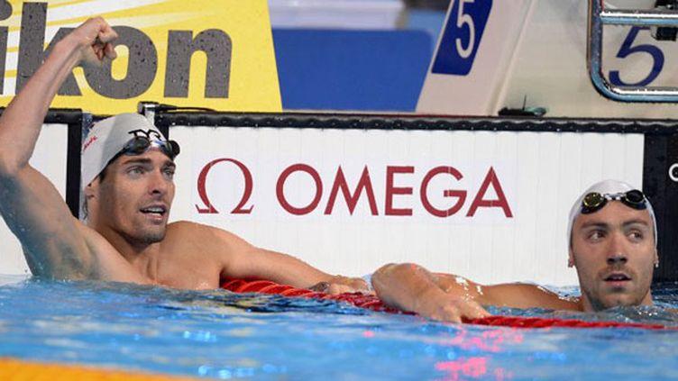 Camille Lacourt, nouveau champion du monde du 50m dos, devant Jérémy Stravius, 2e à égalitéé avec Matt Grevers