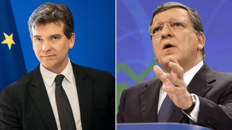 Le ministre du Redressement productif,Arnaud Montebourg(G), et le président de la Commission européenne,José Manuel Barroso. (SIPA / FRANCETV INFO)