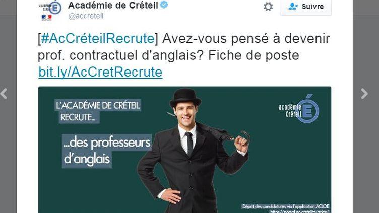 Capture d'écran d'un tweet de l'académie de Créteil. (ACADEMIE DE CRETEIL)