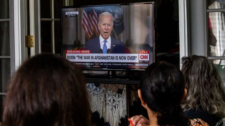Joe Biden, le président des Etats-Unis s'est exprimé le mardi 31 août au sujet du retrait définitif des troupes américaines d'Afghanistan. (APU GOMES / AFP)