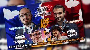Capture écran d'un tweet du streamer politique Jean Massiet qui annonce la soirée entre les deux députés. (CAPTURE ECRAN TWITTER)