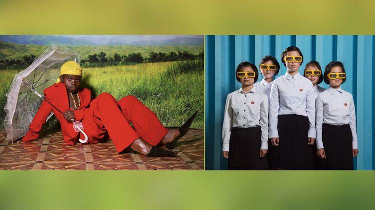 "A gauche,Ruth Ossai, ""Kingsley Ossai, Nsukka, Enugu state, Nigeria"", 2017 - A droite Stéphan Gladieu.""Portraits de Nord-Coréens"", Corée du Nord, Pyongyang, juin2018. Kim Yun Gyong, Han Sol Gyong, Kim Won Gyong, Kang Sun Hwa et Kong Su Hyang au cinéma3D du SCI Tech Complex. (© Rencontres d'Arles)"