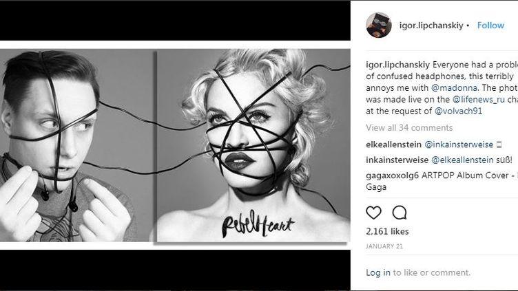 """Igor Lipchanskiy imagine le hors-champ de la pochette de l'album """"rebel Heart"""" deMadonna, dans un motage publié le 21 janvier 2018. (INSTAGRAM / FRANCEINFO)"""