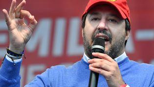 Matteo Salvini, leader de La Ligue (extrême droite) lors d'un meeting à Maranello (Italie), le 18 janvier 2020. (ANDREAS SOLARO / AFP)