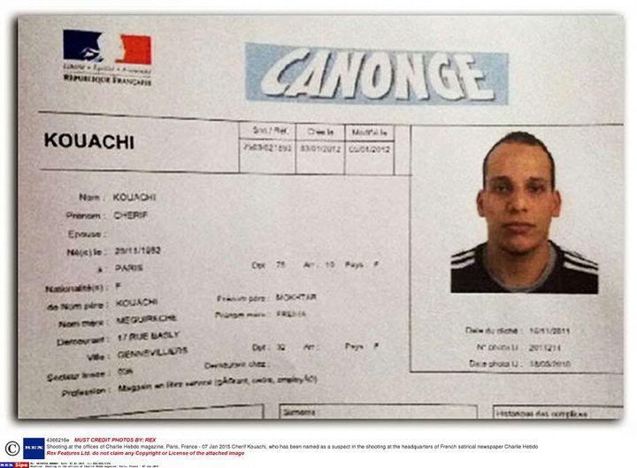 Extrait de la fiche Canonge de Chérif Kouachi, où il apparaît pris en photo en novembre 2011. ( REX / SIPA )