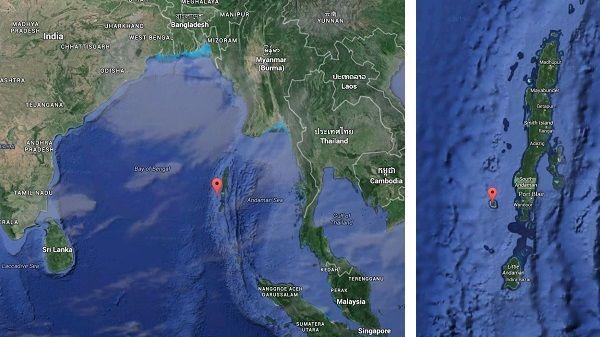 Situation géographique de l'archipel Andaman. A gauche, à l'échelle de l'océan Indien. A droite, à l'échelle de l'archipel Andaman,l'île Havelock est située à l'est de l'île principale. (GOOGLE MAPS)