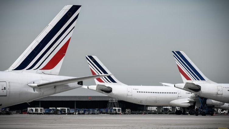 Les avions de la compagnie Air France sur le tarmac de l'aéroport de Roissy (Val d'Oise) le 11 avril 2018. (PHILIPPE LOPEZ / AFP)