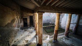 """La """"maison de l'éphèbe"""" dans le parc archéologique de Pompéi (Italie) le 23 décembre 2019 (CESARE ABBATE / ANSA)"""