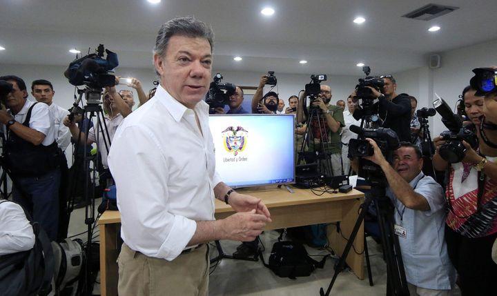 A Carthagène, le président colombien Juan Manuel Santos est fier de confirmer que l'épave trouvée est bien celle du San José, coulé il y 307 ans.  (RICARDO MALDONADO ROZO/EPA/MaxPPP)