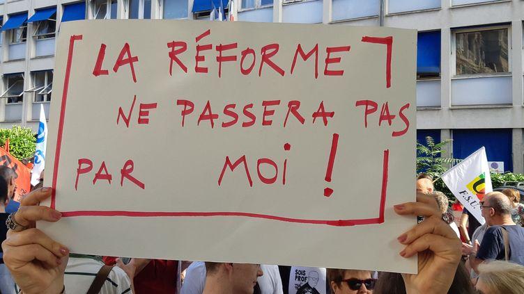 Des manifestants contre la réforme du bac, le 5 juillet 2019 à Nancy. (THIERRY COLIN / FRANCE-BLEU SUD LORRAINE)