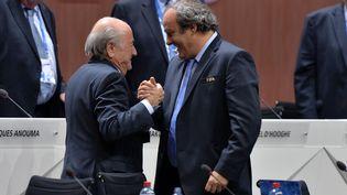 Michel Platini et Sepp Blatter, le 29 mais 2015 à Zurich. (MELANIE DUCHENE / RIA NOVOSTI / AFP)