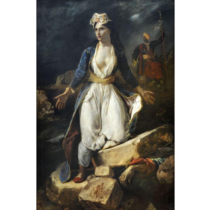 """Eugène Delacroix, """"La Grèce sur les ruines de Missolonghi. 1826, Bordeaux, Musée des Beaux-Arts  (Musée des Beaux- Arts, ville de Bordeaux. Cliché L . Gauthier, F . Deval)"""