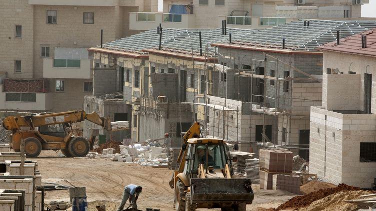 Des logements en construction dans la colonie israélienne d'Ariel, en Cisjordanie,en septembre 2010. (JACK GUEZ / AFP)