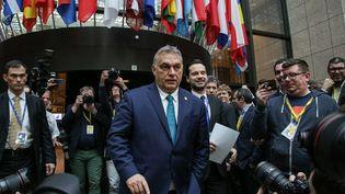 Viktor Orban, le Premier ministre hongrois à la sortie d'un sommet européen à Bruxelles, le 21 février 2020. (NICOLAS ECONOMOU / NURPHOTO / AFP)