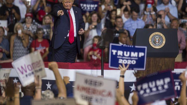 Donald Trump lors d'une meeting de campagne à Greenville, en Caroline du Nord, le 17 juillet 2019. (ZACH GIBSON / GETTY IMAGES NORTH AMERICA / AFP)