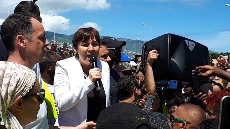 La ministre des Outre-mer Annick Girardin, le 28 novembre 2018, sur l'île de La Réunion. (RADIO FRANCE / ARTHUR GERBAULT)