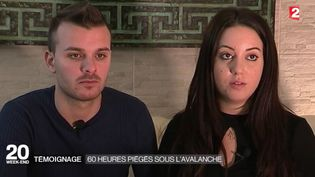 Capture d'écran montrant le couplede jeunes italiens sortis des décombresde l'hotel des Abruzzes enseveli sous la neige (FRANCE 2)