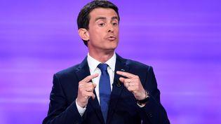 Manuel Valls, lors du débat d'entre-deux-tours de la primaire de la gauche, mercredi 25 janvier 2017. (BERTRAND GUAY / AFP)