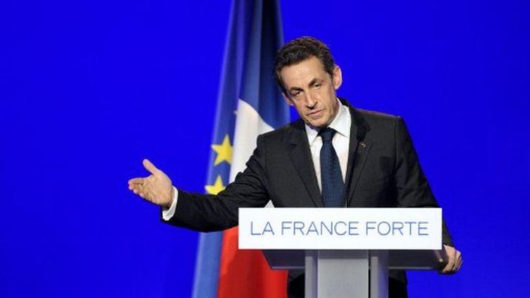 Nicolas Sarkozy tient meeting à Rueil-Malmaison (Ile-de-France), le 24 mars 2012. (AFP - Eric Feferberg)