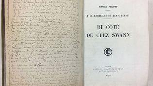 """Lettre-dédicace de Marcel Proust à Marie Scheikévitch en tête de son exemplaire de """"Du côté de chez Swann"""" (Droits réservés)"""