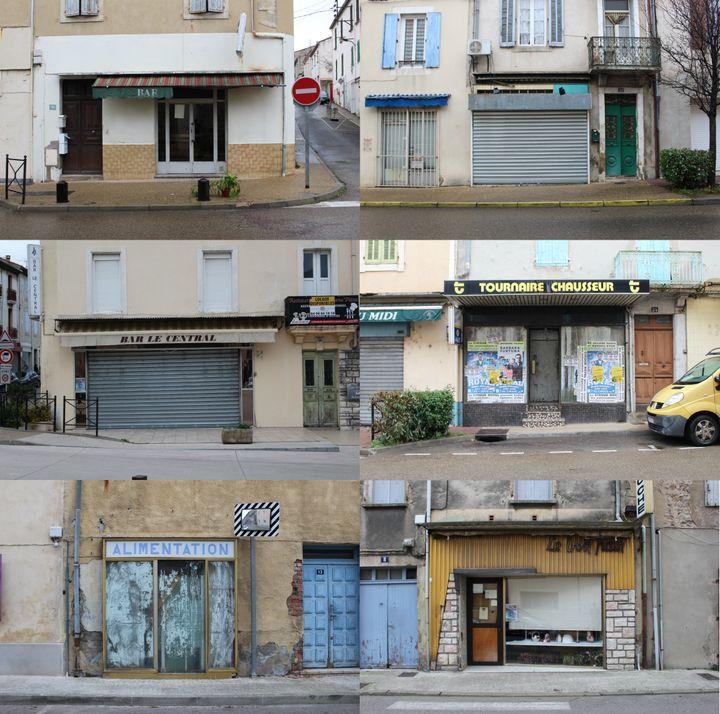 Les devantures de commerces fermés à La Grand-Combe, le 21 janvier 2020. (ROBIN PRUDENT / FRANCEINFO)
