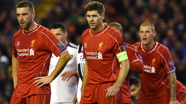 Rickie Lambert et Steven Gerrard (Liverpool FC) (PAUL ELLIS / AFP)