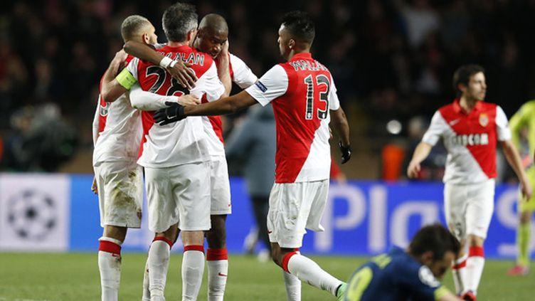Les Monégasques ont savouré la qualification pour les quarts au coup de sifflet final.  (VALERY HACHE / AFP)