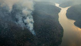 Un incendie touche la forêt des terres indigènes Arariboia, le 24 octobre 2015, au Brésil. (MARIZILDA CRUPPE / GREENPEACE / AFP)