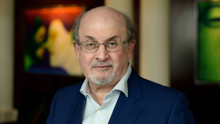 """L'auteur britannique Salman Rushdie est en France pour la promotion de son nouveau roman """" Deux ans, huit mois, et vingt-huit nuits"""" (Acte Sud)  (Marc Ollivier/ PHOTOPQR/OUEST FRANCE/MAXPPP)"""