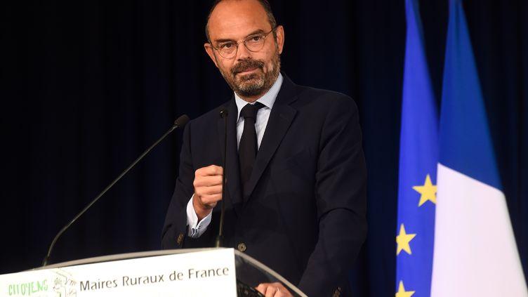 Le Premier ministre Edouard Philippe, le 20 septembre2019, lors d'un discours au congrès de l'association des maires ruraux, àEppe-Sauvage (Nord). (FRANCOIS LO PRESTI / AFP)