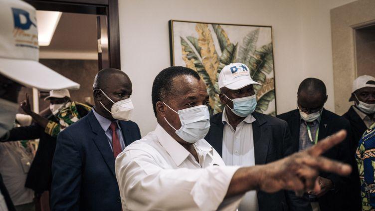 Le président congolais Denis Sassou Nguesso après sa réélection, à Brazzaville le 23 mars 2021 (ALEXIS HUGUET / AFP)