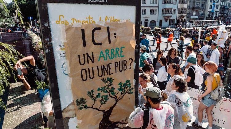Un slogan anti-publicité dans une manifestation pour le climat, le 21 septembre 2019 à Strasbourg (Bas-Rhin). (CHRISTOPH DE BARRY / HANS LUCAS / AFP)
