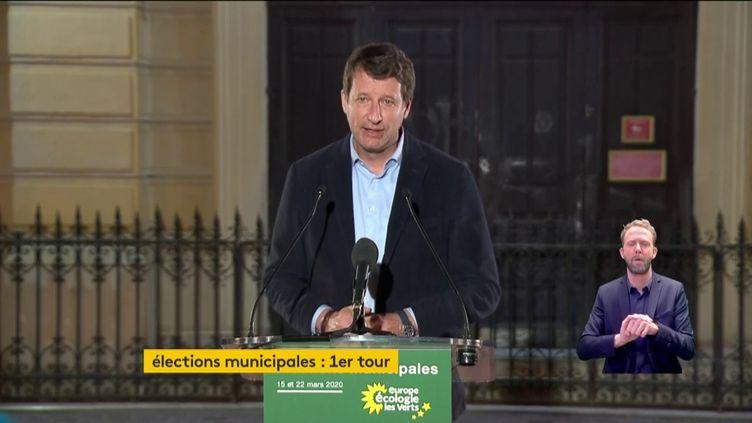 Yannick Jadot, le 15 mars 2020, après l'annonce des résutlats des élections municipales. (FRANCEINFO)