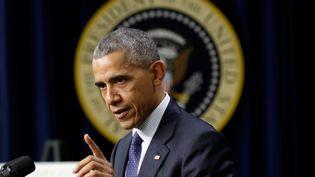 Barack Obama donne un discours, le 14 décembre 2016, à la Maison Blanche, à Washington (Etats-Unis). (YURI GRIPAS / REUTERS)