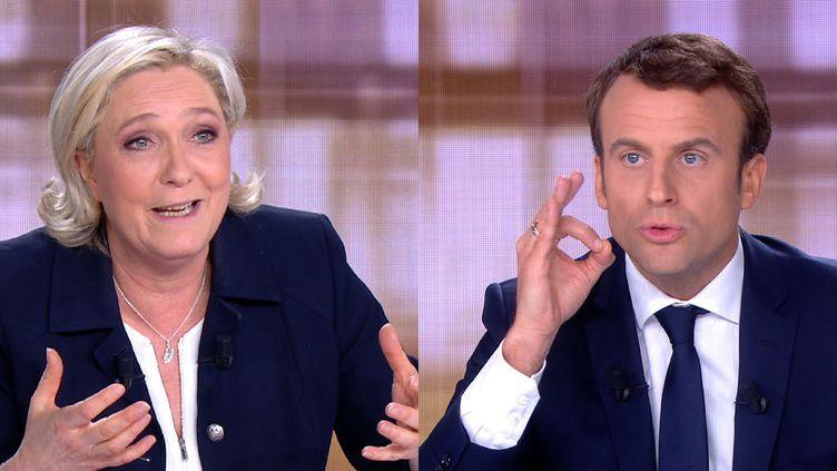 Marine Le Pen et Emmanuel Macron sur le plateau du débat de l'entre-deux-tours, à la plaine Saint-Denis (Seine-Saint-Denis), le 3 mai 2017. (STRINGER / AFP)