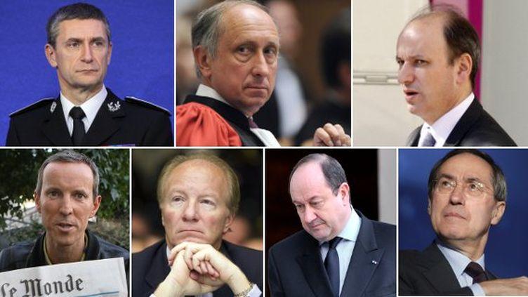 De gauche à droite et de haut en bas : Frédéric Péchenard, Philippe Courroye, David Sénat, Gérard Davet, Brice Hortefeux, Bernard Squarcini, Claude Guéant. (AFP)