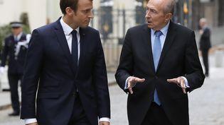 Emmanuel Macron et Gérard Collomb, au ministère de l'Intérieur, le 6 septembre 2017. (FRANCOIS GUILLOT / POOL)