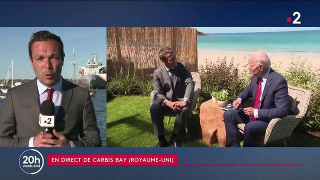 G7 : un entretien chaleureux entre Emmanuel Macron et Joe Biden