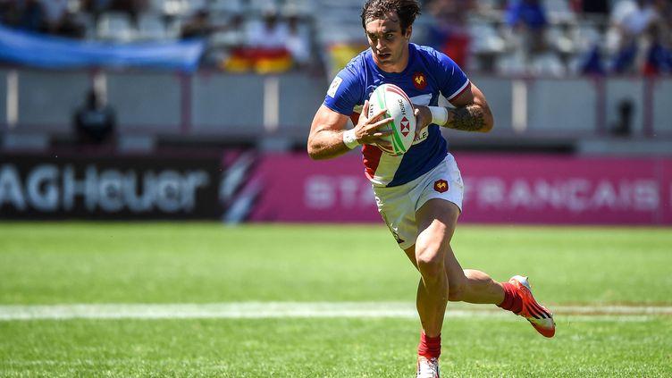 Jean-Pascal Barraque sera l'un des fers de lance de la France lors du TQO de rugby à 7 à Monaco. (LUCAS BARIOULET / AFP)