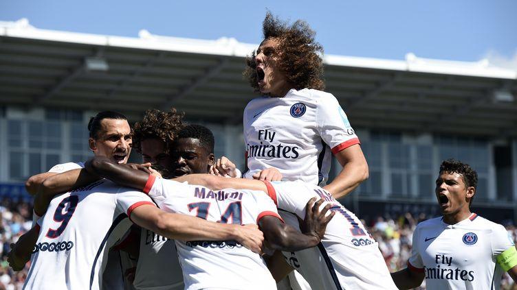La joie des joueurs du PSG lors du Trophée des Champions (FRANCK FIFE / AFP)