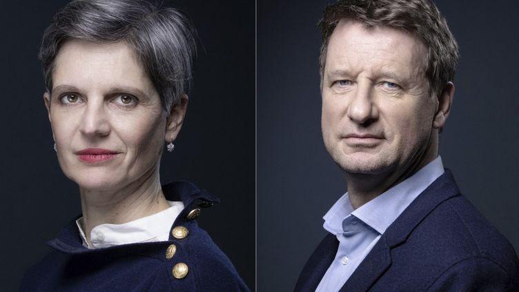 Sandrine Rousseau et Yannick Jadot, deux candidats à laprimaire écologiste en vue de la présidentielle 2022. (JOEL SAGET / AFP)