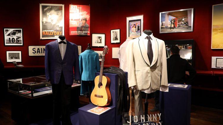 Présentation de la vente d'objets ayant appartenuà Johnny Hallyday,chez Drouot, le 19 octobre 2018. (MAXPPP)