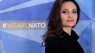 Angelina Jolie, ambassadricede bonne volonté du Haut Commissariat de l'ONU pour les réfugiés (HCR), au siège de l'Otan à Bruxelles (Belgique), le 31 janvier 2018. (YVES HERMAN / REUTERS)